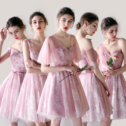 Vestidos De Dama De Honor Junior Baratos-2018 Pink Tulle Short Bridesmaid Dresses 5 estilos Differnent Mini Short apliques de encaje Junior dama de honor vestidos de fiesta