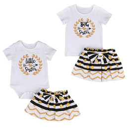 Chinese  Toddler Clothes Baby Clothing Kids Girls Clothes Set Big Sister T-shirt Skirt Little Sister Romper Mini Skirt Matching Outfit Set Boutique manufacturers