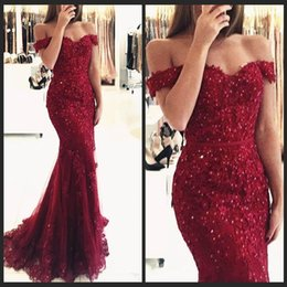 Barato Abendkleid Prom-Abendkleid Off the Shoulder Beaded Mermaid Evening Dresses Manga Curta Lace Appliques Andar Comprimento Formal Sexy Dress Prom