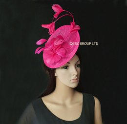5ecf6f8921949 Pink Wedding Hats Fascinators Canada - New Arrival. Hot pink fuchsia  Feather Fascinator sinamay hat