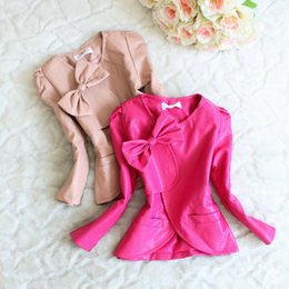 $enCountryForm.capitalKeyWord Canada - Children Clothing Girls Leather Jackets Kids Causal Fashion Faux Leather Solid Color Bow Pockets Spring Autumn Coats Outerwear