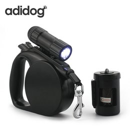 China 2017 New Pet Dog Leash Led Light &Clean -Up Bag Retractable Leash For Small Medium Dogs Collar Products Harness Strong Chain R cheap light up collars for dogs suppliers