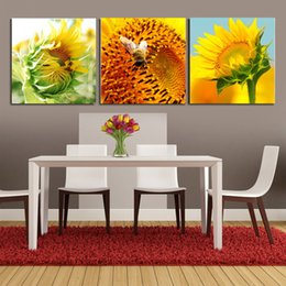 Painting Basket NZ - 3 Pieces Modern Painting Art Picture Paint on Canvas Prints Sunflower seal up Purple Lavender Basket Pot flower girl love petal rose