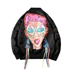 China Men's Jackets 2018 Autumn Winter Clothing Bomber Jacket Coat Girl printing Pattern Outwear Hip hop Loose College Students Men Women Outerwea supplier college clothes men suppliers
