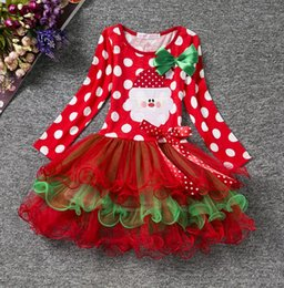 Patterns For Tutus Canada - New arrival Autumn Winter Christmas Dresses Baby Girls Lace Tutu Santa Pattern Round Dot Design Dress For Kids