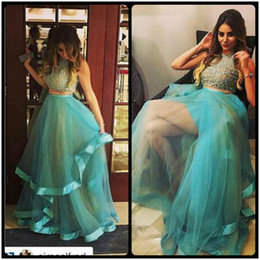 60e65d47a830 Elegant Two Piece Prom Dresses 2016 Jewel Neck Beaded Tulle Turquoise Long  Party Dresses For Women Evening Gowns