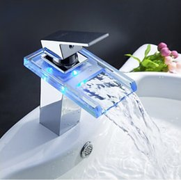 Rgb Decking Lights Canada - Chromed polished Battery RGB LED light Bathroom basin sink mixer tap glass waterfall Faucet C3065