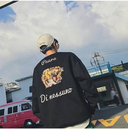 Korean couples blacK white online shopping - Fashion Korean Style Embroidery Tiger Sweater Mens Womens Sweater Pullover Designer Tops for Couple Lover Sweatshirts