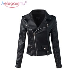 Motocicleta Básica Baratos-Al por mayor-Aelegantmis Casual PU Leather Jacket Women Classic Zipper corto Motocicleta Chaquetas Lady Autumn Soft Leather Basic Coat Negro