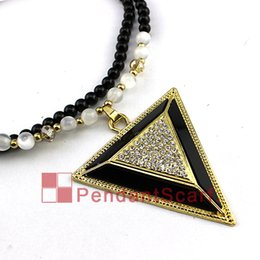 $enCountryForm.capitalKeyWord Canada - Hot Fashion Rhinestone Triangle Pendant Necklace Black Beads Chain Jewelry Women Bib Statement Necklace, Free Shipping, JW0022