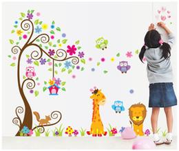 Large owL tree decaL online shopping - Kids Room Nursery PVC Wall Art Sticker Owl Lion Giraffe Flower Tree Wall Decal Decor Home Wallpaper Decor Stickers