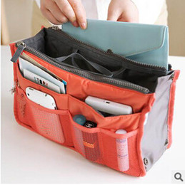 Travel Organizer Dual Canada - 2015 Bag in Bag Dual Women Travel Insert Multi-function Handbag Purse Pocket Organizer Bag Storage Zipper makeup bags