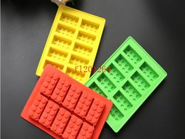 building block mold Canada - 200pcs lot Free Shipping Building blocks LFGB block brick Ice Mold Silicone Ice Cube Tray Size 19x11cm