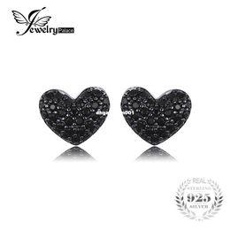 Venta al por mayor de JewelryPalace Fashion 0.29ct Natural Black Spinel Love Heart Earrings For Women Solid 925 pendientes de plata esterlina Stud