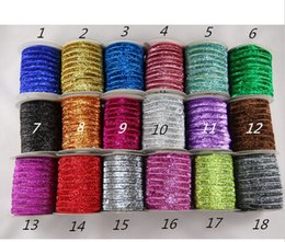 "wholesale foe elastic Canada - 5 8"" 15mm Glitter Elastic Solid Glitter FOE Elastic DIY Headbands Hair Ties Hairband 20Yards lot"