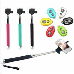 Kablosuz Monopod Özçekim sopa Uzaktan Kamera deklanşör ile Tüm telefonlar için Uzatılabilir El Monopod cep telefonu tutucular ...