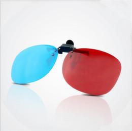 Горячие продажи 3D клип очки 3D очки анаглиф объектив для просмотра 3D-фильмов и игр Синий Красный Бесплатная доставка