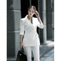 Costume Élégant En Dames Pas Cher-Nouveau Noir Blanc Pantalon Costumes Femmes Casual Bureau Uniforme Styles Dames Élégant Pantalon Costumes Business Costumes Travail Formel Usure 2 PC Set