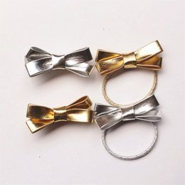 girls silver hair accessories Canada - 20pc  Lot Pu Leather Bowknot Girls Hair Clips Cute Gold Silver Shinning Synthetic Hairbands Girls Kids Elastic Hair Ties Hair Bow