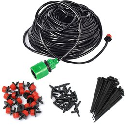 Irrigation Hoses Canada - Micro Drip Irrigation Kit 25M 5M 15M Plants Garden Watering System Automatic Garden Hose Kits Connector 30pcs Adjustable Drip