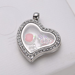 Necklaces Pendants Australia - 5 Colors Memory Floating Charm Locket Alloy + Crystal Rhinestone Pendant + 1mm 18inch 925 Silver Chain Necklace DIY Jewelry