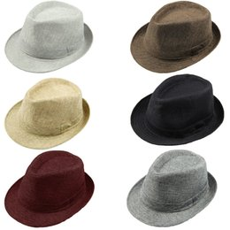 brims hats 2019 - Wholesale-Fashion Casual Hats for Women Pinched Crown Fedora Hat Beach Sun Cap Panama Hat Men Chapeu Masculino Chapeus U