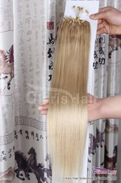 "remy hair extensions 18 613 2019 - High Quality 18-22"" Micro Loops Remy(Remi)Human Hair Extensions Indian Micro Rings Link #613 Lightest Bleach Blonde"
