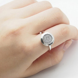 mexican wedding rings 2019 - Compatible with pandora Jewelry Silver Ring 925 Sterling Silver plated alloy round disc Ring with cz paved silver gold r