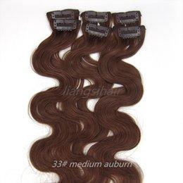 "China Peruvian Hair Brazilian virgin Remy Human Hair Extensions Body Wave Style Clip in Hair bundles 20"" 6pcs 36g 33# Medium Auburn suppliers"