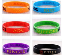 Discount adc bracelet free 2015 Retail LOL GAMES Souvenirs 100% Silicone Wristband LEAGUE of LEGENDS Bracelets with ADC, JUNGLE, MID, SUPPORT,