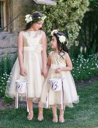 Barato Meninas Vestido De Tule De Ouro-Bling Gold Sequin Champagne Tulle Flower Girls Vestidos Tea-Length Girls Site Dress With Faces Flower Traje De Comunion Vestido