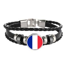 france glasses 2019 - Leather Bracelet Snap Punk France Belize Dominican Ecuador Flag Glass Cabochon Charm Bracelets Women and Men Jewelry Who