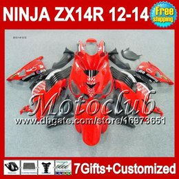 Red White Kawasaki Canada - 7gifts For KAWASAKI Red white blk NINJA ZX-14R ZX14R 2012 2013 2012 2013 ZX 14 R 25C100 ZX 14R 12-13 Red black 12 13 12 13 ZX14 R Fairing
