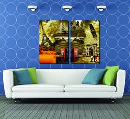 $enCountryForm.capitalKeyWord Canada - 2 Pieces Free shipping Home decoration Paint on Canvas Print Eiffel Telephone booth Bridge Pisa city building Jackson ship lighthouse Monroe