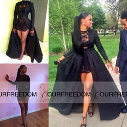 Silver cuStom coat online shopping - Carnaval Sexy Two Piece Short Prom Dresses See Through Black Lace Long Sleeve Detachable Coat Floor Evening Dresses High Quality