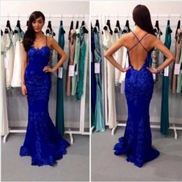 Barato Baile De Formatura Sexy-Mermail Azul Prom Dressess Long Lace Backless Sexy Fishtail Sweep Train Mulheres Vestido de noite Formal Lady Ocasião Vestidos Custom Made Baratos