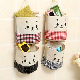 Cat Baskets Beds Canada - new cotton clothes cartoon cat hanging storage bag flower basket storage debris bag wall combination cute cat face bag