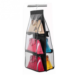 $enCountryForm.capitalKeyWord Canada - Wholesale-Ladies Handbag Storage Organizer Closet Women Tote Rack Hangers 6 Pockets for Hanging Bag Purse Handbags Bags Household Storage