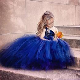 $enCountryForm.capitalKeyWord Canada - Royal Blue One Shoulder Cheap Flower Girls' Dresses Tulle Ball Gown Floor Length First Communion Girls Dress 2016 Fast Shipping Vestidos