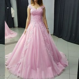 Barato Azul Real Mais Rosa-Gorgeous árabe Plus Size Prom Dress Long Vestidos de festa formal da noite V Neck Beaded Lace Appliques Pink Tulle Prom Dresses Sweep Train