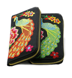 Chinese  Greeen Peacock Embroidery Women wallet Card holder classic zipper pocket manufacturers