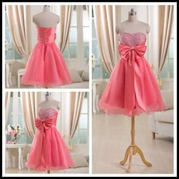 Barato Laço De Lantejoula Rosa-Real Images Homecoming Vestidos 2017 Peach Pink Short Cocktail Vestidos Custom Made querida com Sequins Beading Bow Tie Zipper Voltar