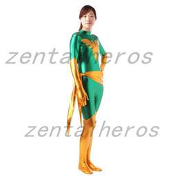 phoenix costume x men movie Canada - Green X Men Dark Phoenix Shiny Metallic Superhero Costume