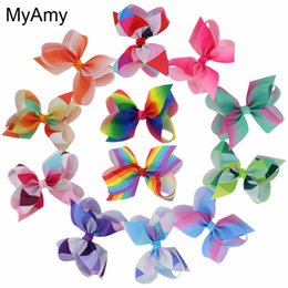 Barato Fitas De Arco-íris-Myamy 12pcs / Lot 6 '' Fashion Grosgrain Ribbon Boutique Hair Bows Without Clips Meninas Rainbows Hairbow para presentes para adolescentes