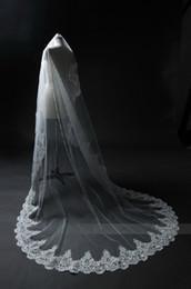 $enCountryForm.capitalKeyWord NZ - Elegant white Ivory Long Bridal Veil Tulle Lace Appliques Wedding Veil For Church 2019 New Arrival