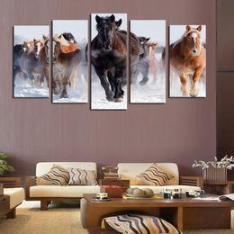 $enCountryForm.capitalKeyWord Canada - 5 Panel Canvas Art Horses Painting Full Steam Ahead Prints Living Room Decor Unframed Painting Hot Sale