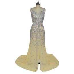 $enCountryForm.capitalKeyWord UK - Vestidos Longos Para Beaded Formatura Mermaid Champagne Sweetheart Side Slit Chiffon Beaded Evening Formal Gown Dresses 2018