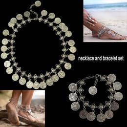 $enCountryForm.capitalKeyWord NZ - Flower Child Silver Coin Necklace Anklet Set Jewelry Set Adjustable Handmade floral design Boho Gypsy Beachy Ethnic necklace bracelet sets