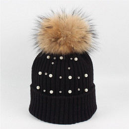 Diamond Ball Hair Canada - High Quality Bling diamond Hat lady 15cm raccoon hair ball knit cap tide winter rabbit fur pearl wrap warm winter hat wholesale