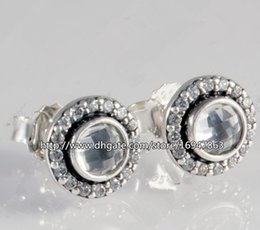 pandora new earrings Canada - New 100% S925 Sterling Silver European Pandora Style Jewelry Brilliant Legacy with Clear CZ Stud Earrings